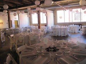 Tables set up for wedding at RedLine